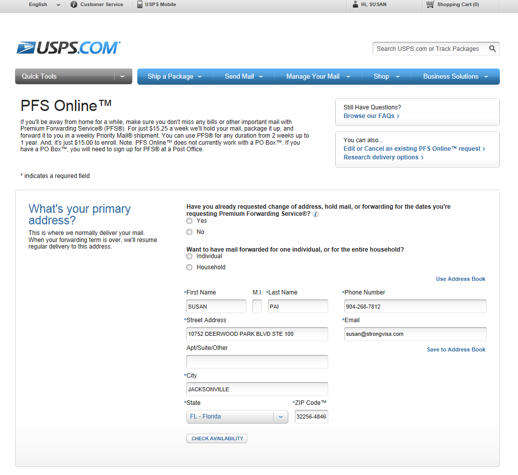 View of the change of address page at the US Post Office website