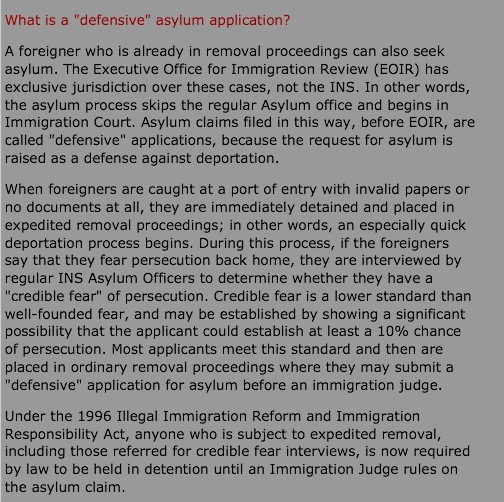 "Defensive Asylum Claim, Detention & the Initial ""Credible Fear"" Interview"
